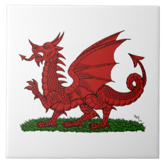 Roter Drache von Wales Keramikfliese