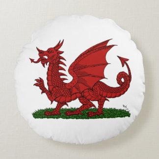 Roter Drache von Wales Rundes Kissen
