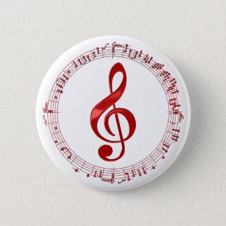 Roter dreifacher Clef im Musiknoten Runder Button 5,1 Cm