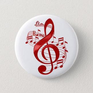 Roter dreifacher Clef mit flüssigem Musiknoten Runder Button 5,1 Cm