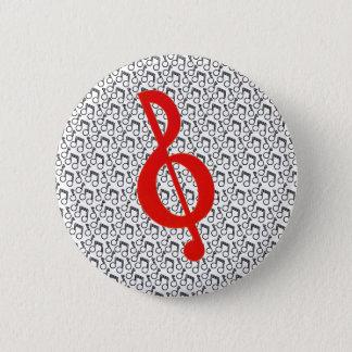 Roter dreifacher Clef mit schwarzem Runder Button 5,1 Cm
