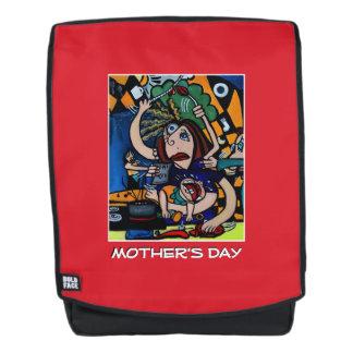 Roter Entwurf der Mutter Tages Rucksack
