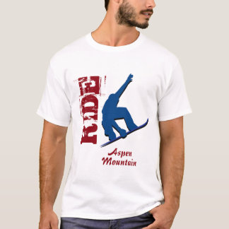 Roter Fahraspen-GebirgsSnowboard T-Shirt