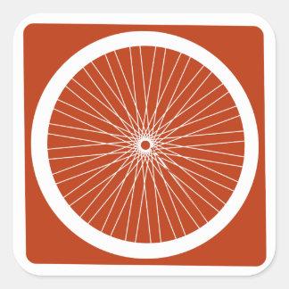 Roter Fahrrad-Rad-Aufkleber Quadratischer Aufkleber