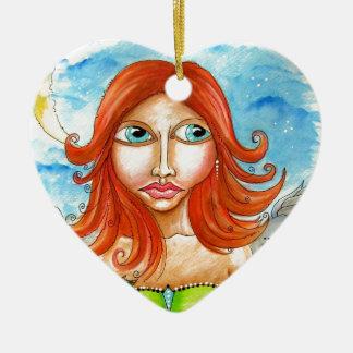 Roter feenhafter Mädchen-Hauptentwurf Keramik Herz-Ornament