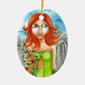 Roter feenhafter Mädchen-Hauptentwurf Ovales Keramik Ornament