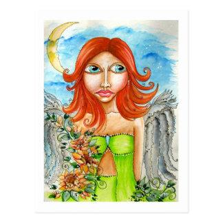 Roter feenhafter Mädchen-Hauptentwurf Postkarte