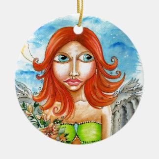 Roter feenhafter Mädchen-Hauptentwurf Rundes Keramik Ornament