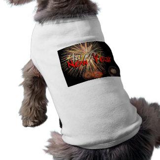 Roter Feuerwerk-glückliches neues Jahr-Hundeshirt Top