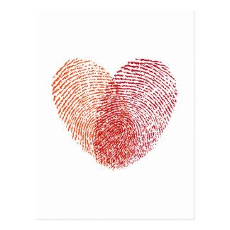 Roter Fingerabdruckherzentwurf Postkarten