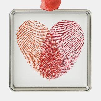 Roter Fingerabdruckherzentwurf Silbernes Ornament