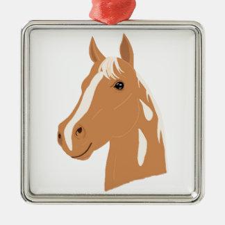 Roter Flug das glückliche Pferd Silbernes Ornament