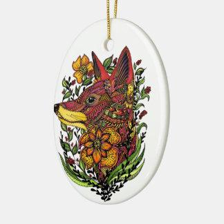 Roter Fox, Blumendruck, Geschenk Keramik Ornament