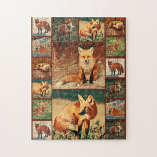 Roter Fox-Collage Puzzle