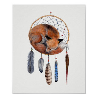 Roter Fox, der auf Dreamcatcher schläft Poster