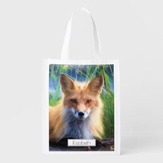 Roter Fox, der in das Gras-landschaftliche Wiederverwendbare Einkaufstasche