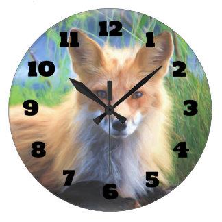 Roter Fox, der in das Gras-Tier-Bild legt Große Wanduhr