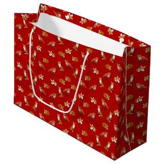 Roter Fox-Familien-Geschenk-Tasche Große Geschenktüte