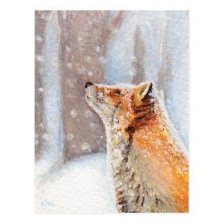 Roter Fox in der Schnee-Malerei-Postkarte Postkarten