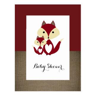 Roter Fox-Leinwand-Babyparty-Einladung Postkarte