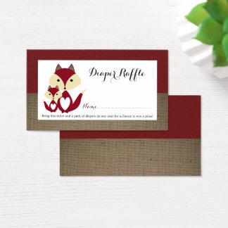 Roter Fox-Leinwand-Babyparty-Windelraffle-Karte Visitenkarte