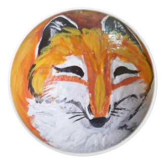 Roter Fox-Malerei-Fach-Tür-Kabinett-Griff-Zug Keramikknauf