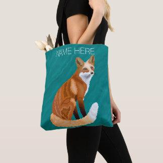 Roter Fox-Retro Art gemarmortes aquamarines Tasche