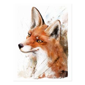 Roter Fox-Wand-Kunst Postkarte