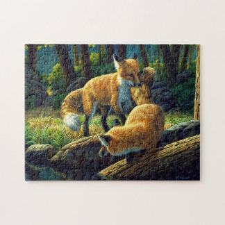 Roter Fox-Welpen-Spielen Puzzle