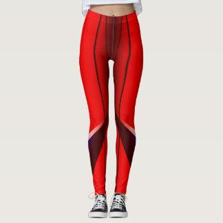 Roter Fraktal-Geometrie-Kunst-Entwurf Legging Leggings