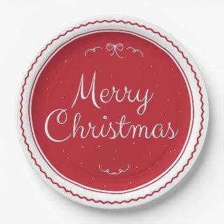 Roter frohe Weihnacht-Briefmarken-Papier-Teller Pappteller