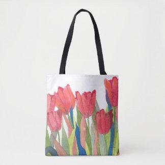 Roter Frühlings-Tulpe-Aquarell Tasche