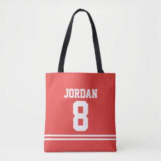 Roter Fußball Jersey mit individuellem Namen und Tasche