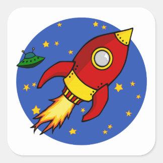 Roter gelber quadratischer Aufkleber Rockets