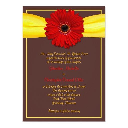 Roter Gerbera mit gelber Band-Einladung 12,7 X 17,8 Cm Einladungskarte
