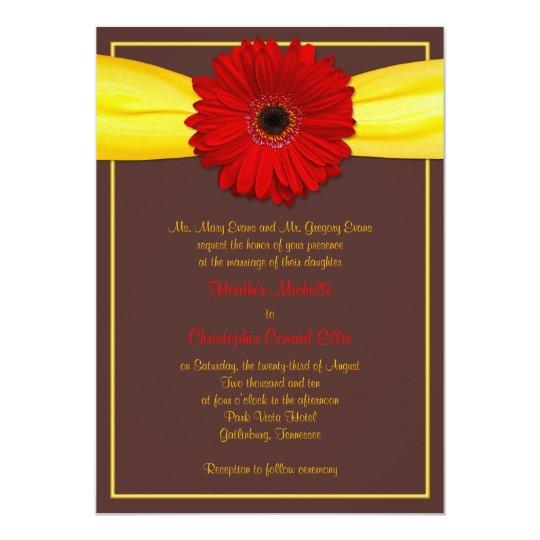 Roter Gerbera mit gelber Band-Einladung Karte