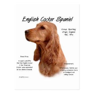 (Roter) Geschichtsentwurf Englisch-Cocker spaniels Postkarte