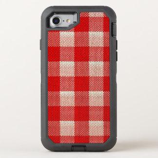 Roter Gingham-karierter Muster-Leinwand-Blick OtterBox Defender iPhone 8/7 Hülle