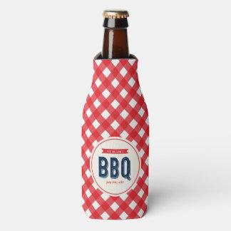 Roter Gingham und blaues GRILLEN Party Flaschenkühler