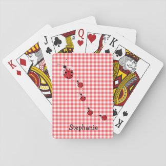 Roter Gingham und Marienkäfer-kundenspezifische Spielkarten