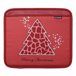 Roter Giraffe Weihnachtsbaum iPad Sleeve