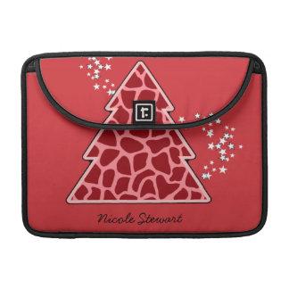Roter Giraffe Weihnachtsbaum MacBook Pro Sleeve
