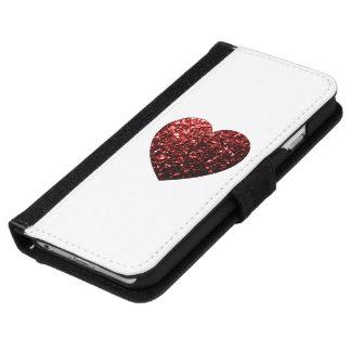 Roter Glitter-Glitzern Herz iPhone iPhone 6 Geldbeutel Hülle
