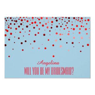 Roter Glitter sind Sie meine Brautjungfer? 12,7 X 17,8 Cm Einladungskarte