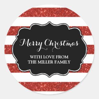Roter Glitter Stripes frohe Weihnacht-Gewohnheit Runder Aufkleber