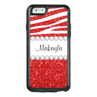 Roter Glitterweißer Zebra OtterBox iPhone 6/6s OtterBox iPhone 6/6s Hülle