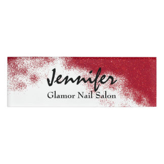 Roter Glittery Angestellt-Namensschild Namenschild