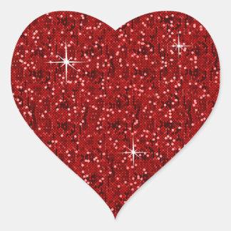 Roter Glittery Confetti Herz-Aufkleber