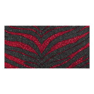 Roter Glitterzebra-Druck Individuelle Photo Karten