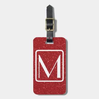 Roter Glitz-Pariser mit Monogramm Kofferanhänger